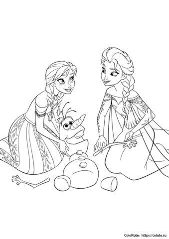 Эльза и Анна собирают Олафа по частям - раскраска для детей распечатать