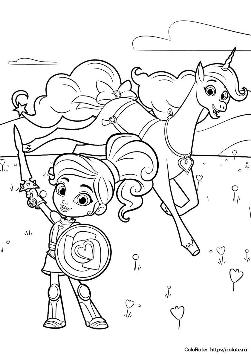Раскраска Отважная принцесса-рыцарь распечатать | Нелла