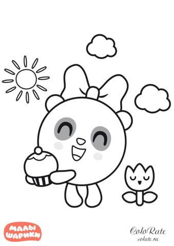 Раскраска - Пандочка с пирожным в руках - Малышарики