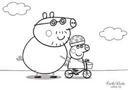 Папа Свин обучает Пеппу - детская раскраска из мультика Свинка Пеппа распечатать на А4