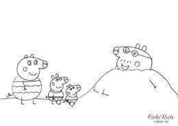 Свинка Пеппа - раскраски из мультфильма - Папа свин в песке