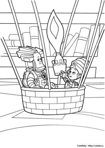 """Детская разукрашка """"Папус и Мася на воздушном шаре"""" распечатать на А4"""