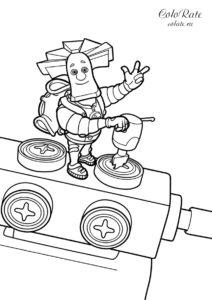 Папус использует помогатор - скачать и распечатать на А4 раскраску