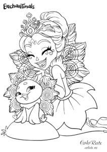 Пата Пикок - разукрашка Enchantimals для девочек