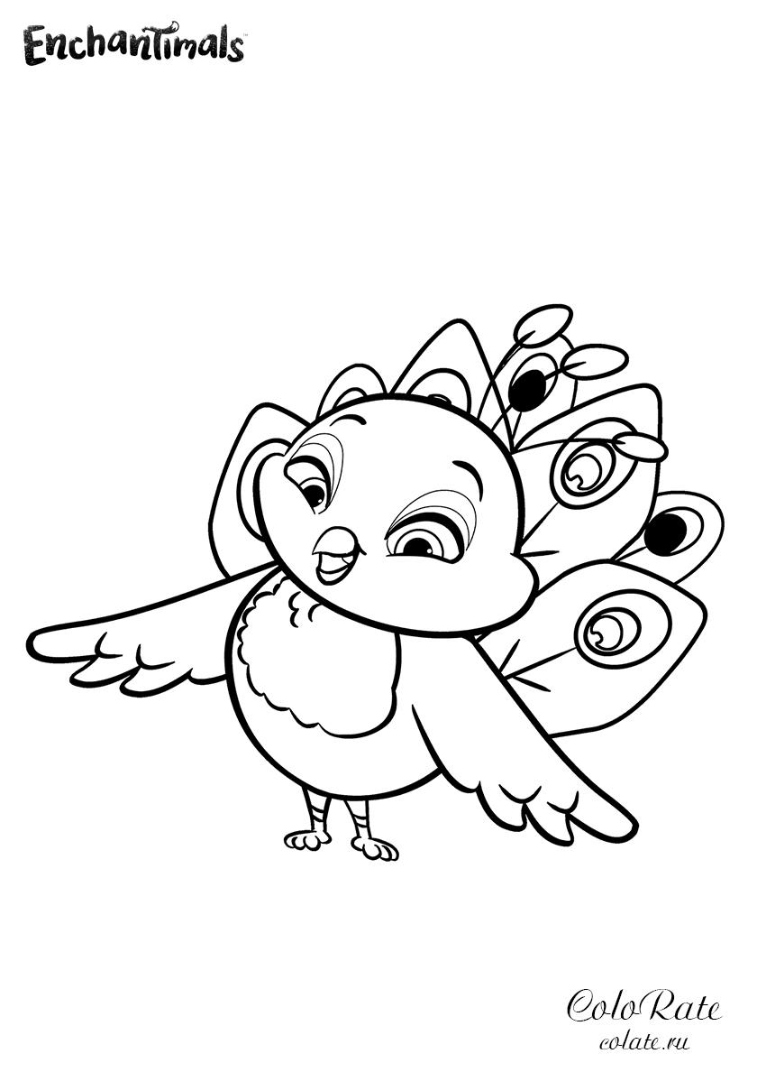 Раскраска Весёлый павлинчик Флэп распечатать | Энчантималс