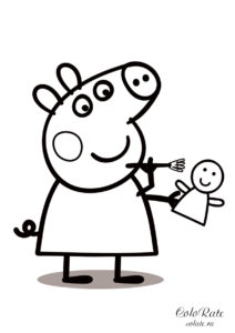 Пеппа чистит игрушку - разукрашка из мультфильма Свинка Пеппа распечатать на листах формата А4