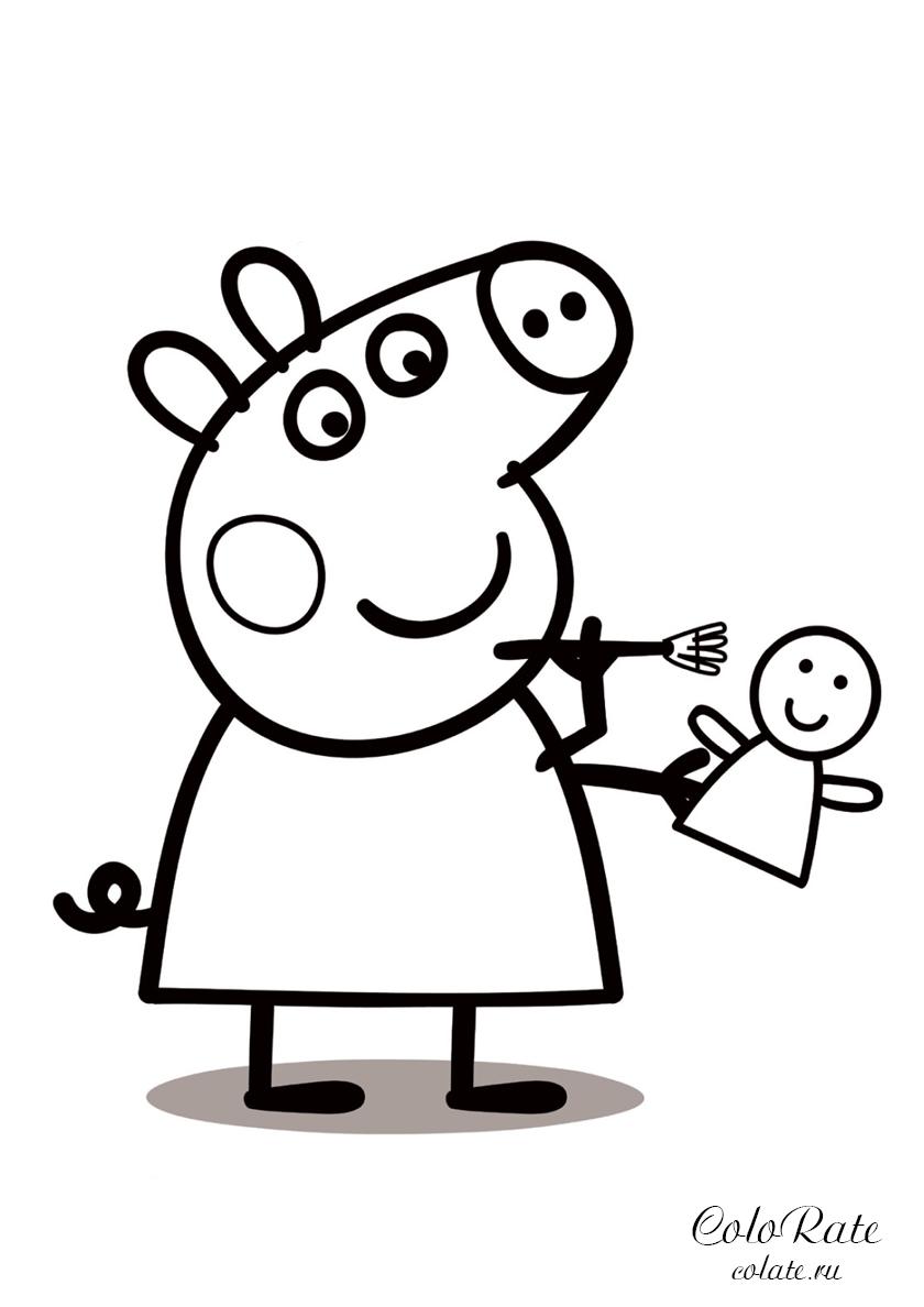 Раскраска Пеппа чистит игрушку распечатать | Свинка Пеппа