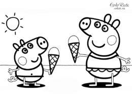 Раскраска Свинка Пеппа и Джордж с мороженным скачать и распечатать