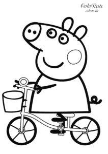 Раскраска Свинки Пеппы на велосипеде для детей распечатать