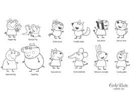 Персонажи мультфильма Свинка Пеппа - бесплатная раскраска