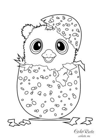 Пингвиненок Hatchimals в яйце распечатать и скачать раскраску