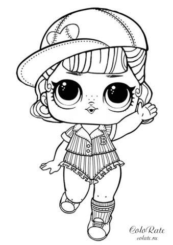 Раскраска куклы ЛОЛ Пит-стоп распечатать на А4