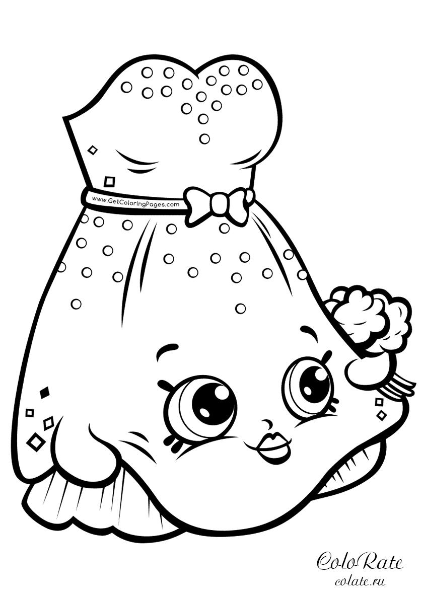 Раскраска Шопкинс - счастливое платьице распечатать на А4