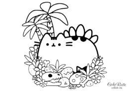 Раскраска Pusheen Cat динозавр распечатать