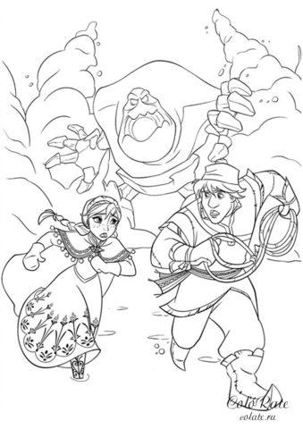 Побег от снежного монстра - бесплатная раскраска