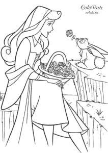 Подарок от зайчонка - бесплатная раскраска для девочек распечатать на листах формата А4