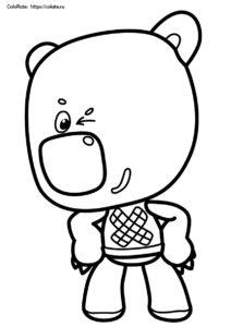 Подмигивающий Кеша - раскраска из мультфильма про Ми-Ми-Мишек