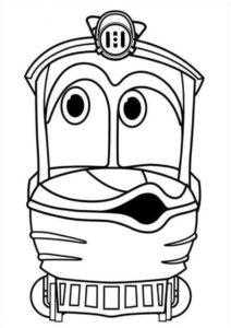 Детская раскраска - Поезд Утенок - по мультфильму Роботы-поезда скачать и распечатать