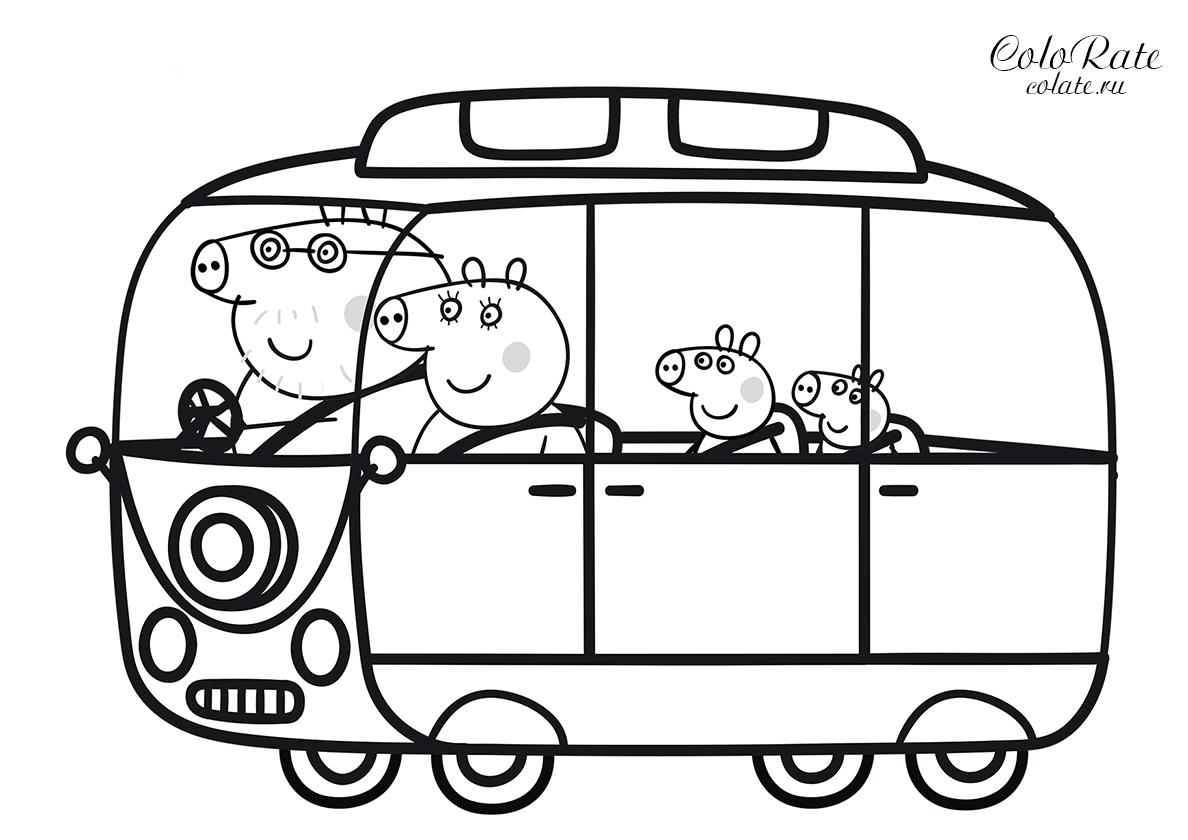 Раскраска Поездка на автобусе распечатать | Свинка Пеппа
