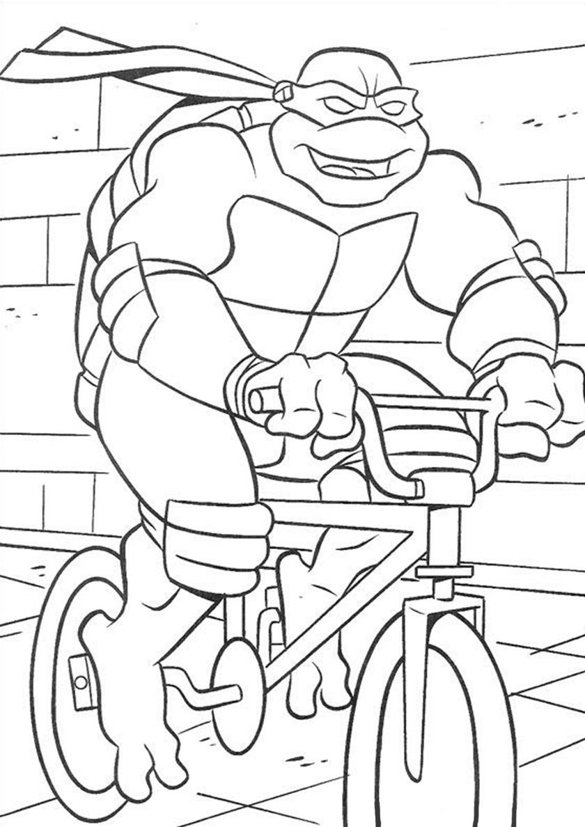 Раскраска Поездка на велосипеде распечатать | Черепашки-ниндзя