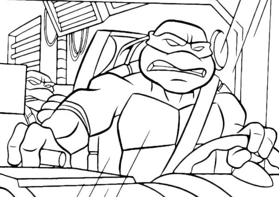 Раскраска Погоня на фургоне распечатать | Черепашки-ниндзя