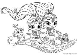 Шиммер и Шайн - раскраска для девочек - Полет на ковре-самолете