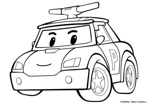 Полицейский Поли на службе - раскраска для мальчиков распечатать
