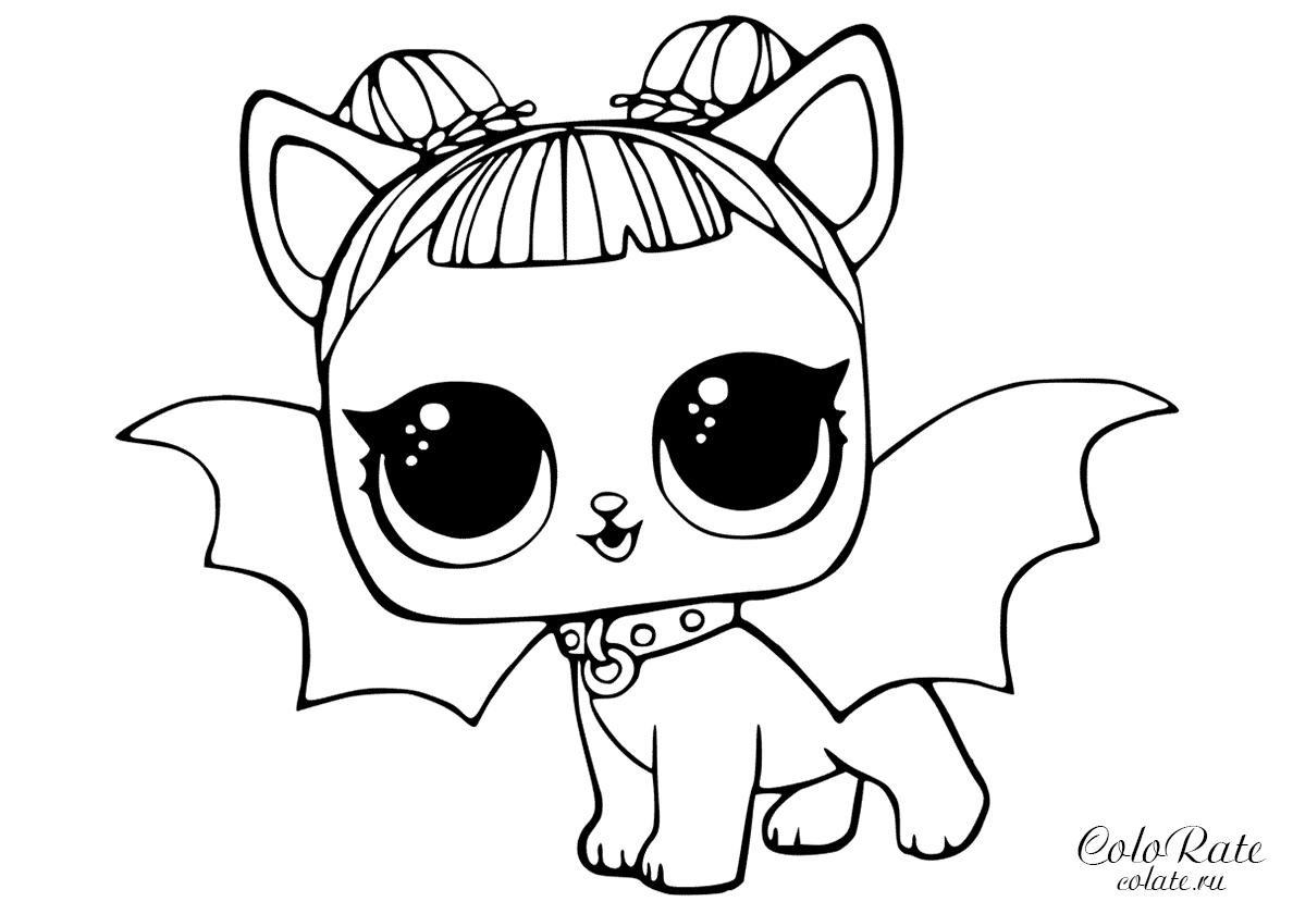 Раскраска Полуночный щенок L.O.L распечатать | L.O.L Питомцы