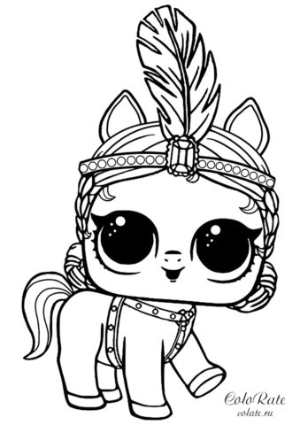 Раскраска пони артистки из куколок LOL Pets