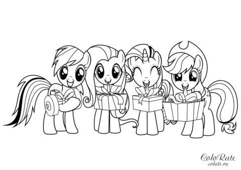 Бесплатная раскраска - пони из мультфильма My Little Pony для девочек
