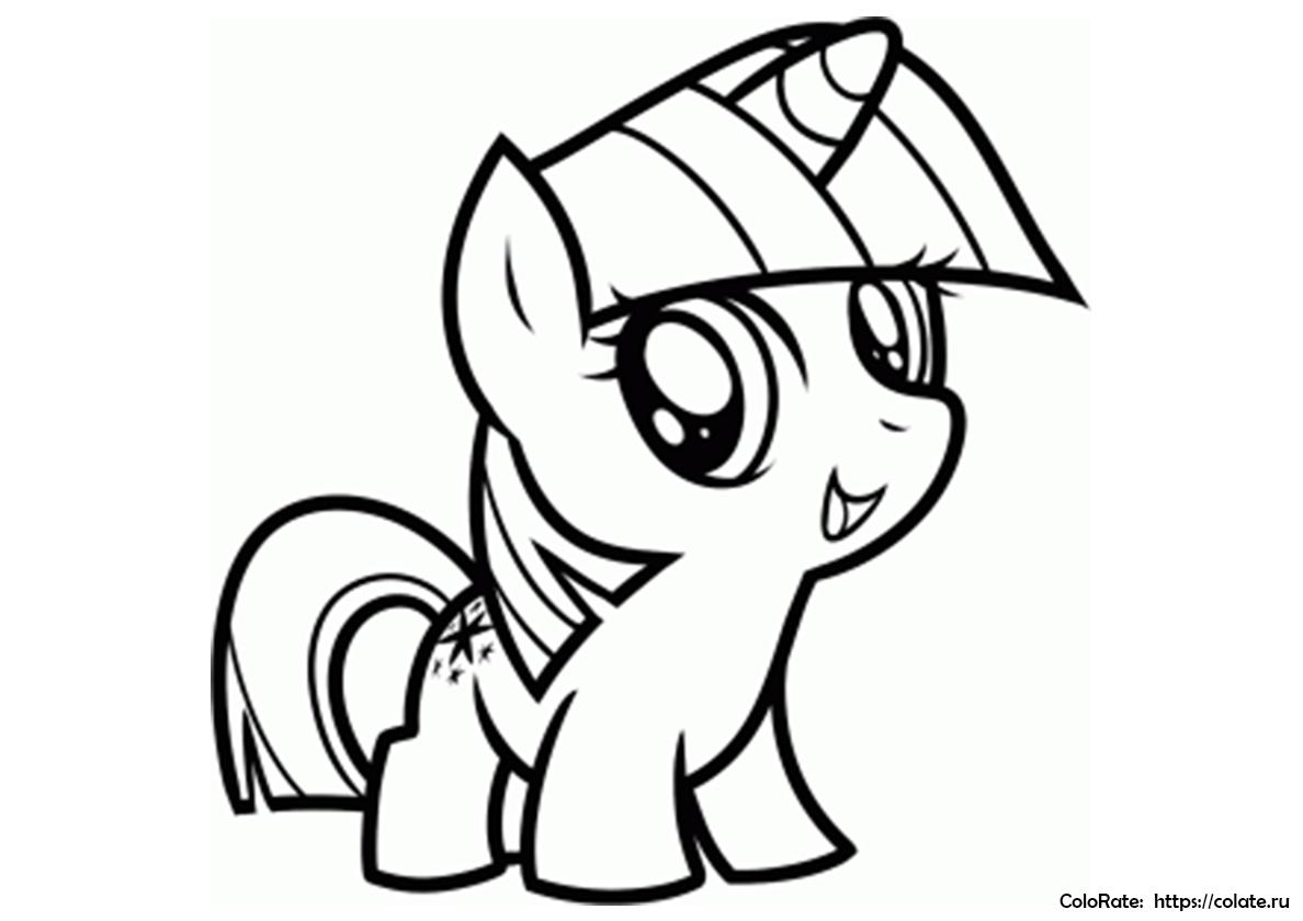 раскраска пони в стиле чиби распечатать сумеречная искорка