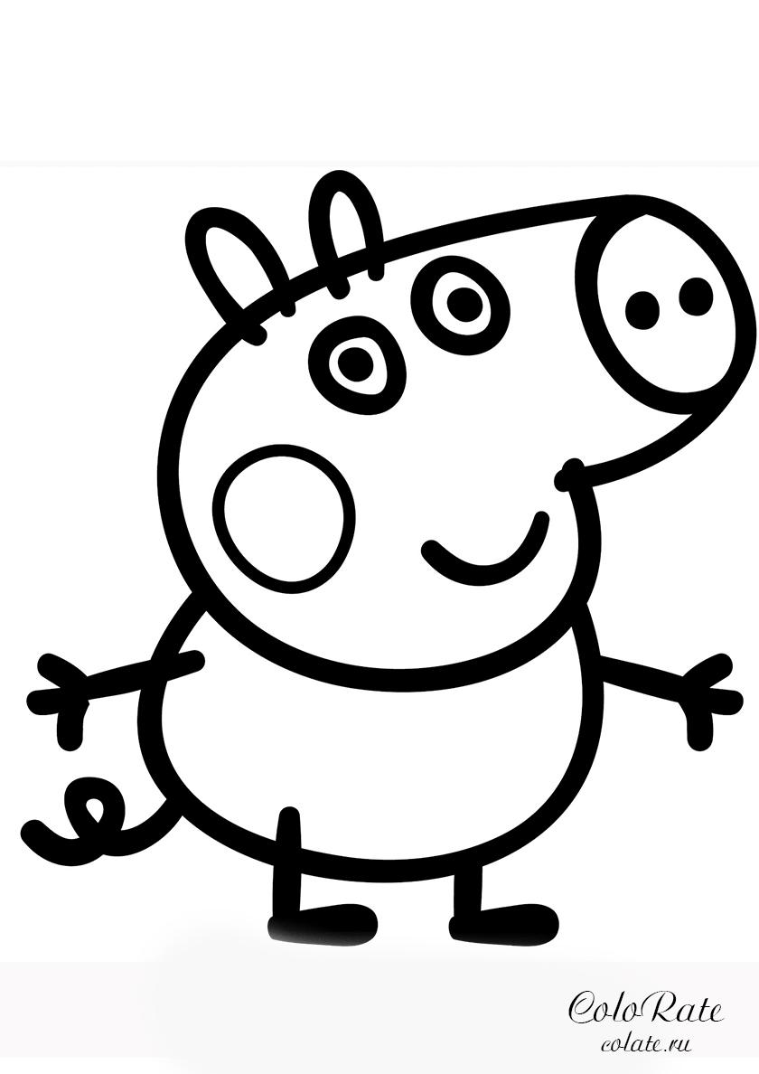 Раскраска Поросенок Джордж распечатать | Свинка Пеппа