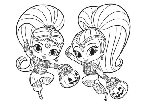 Раскраска для девочек - Празднование Хэллоуина из мультфильма Шиммер и Шайн