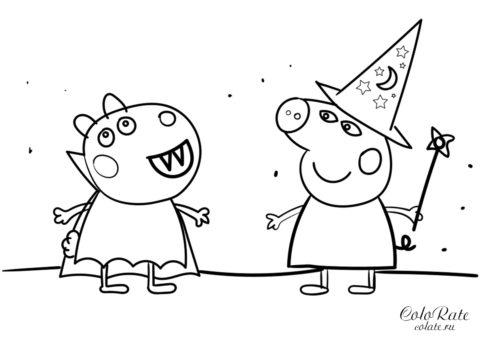 Празднование Хеллоуина - раскраска для детей из мультика Свинка Пеппа