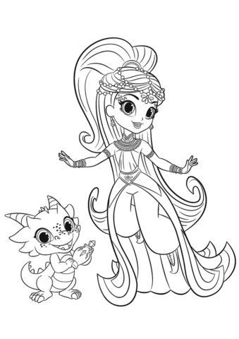 Принцесса Самира и Назбу - бесплатная разукрашка для девочек скачать