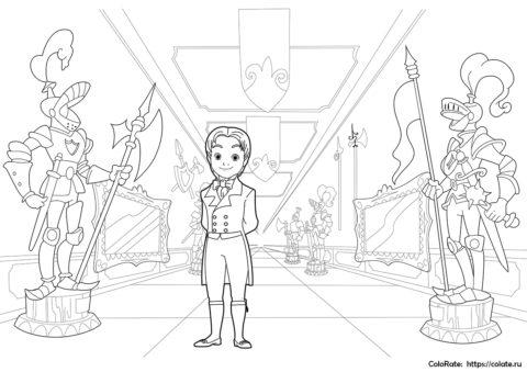 Принц Джеймс в коридоре - бесплатная раскраска скачать и распечатать