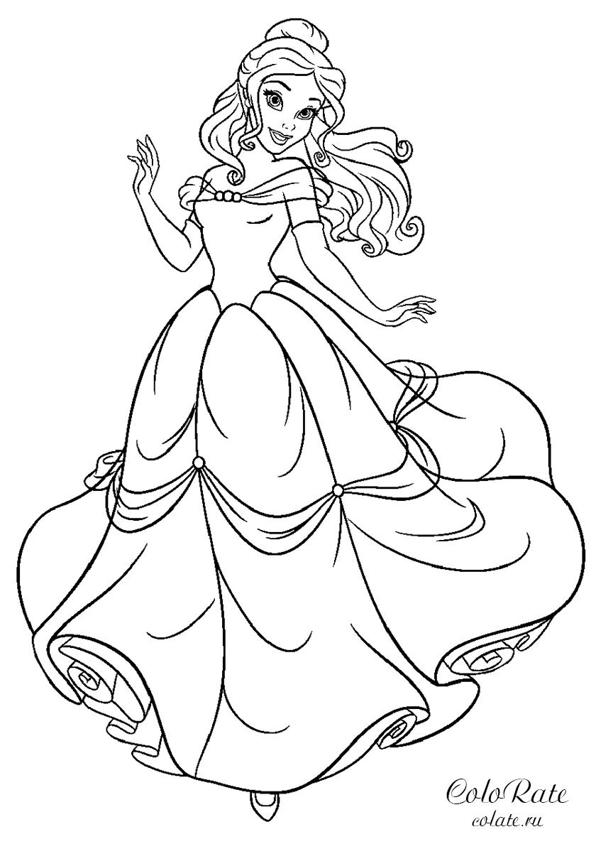 Раскраска Принцесса Белль (Disney) распечатать | Белль