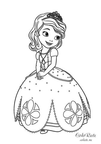 Принцесса София Прекрасная - раскраска для девочек
