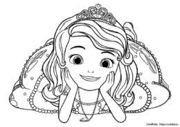 """Разукрашка """"Принцесса София лежит на полу"""" для девочек"""