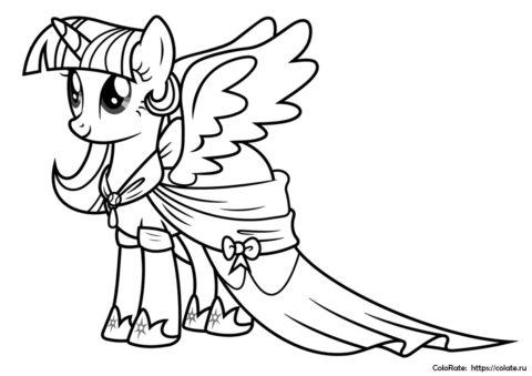 Принцесса Сумеречная Искорка - бесплатная раскраска для девочек