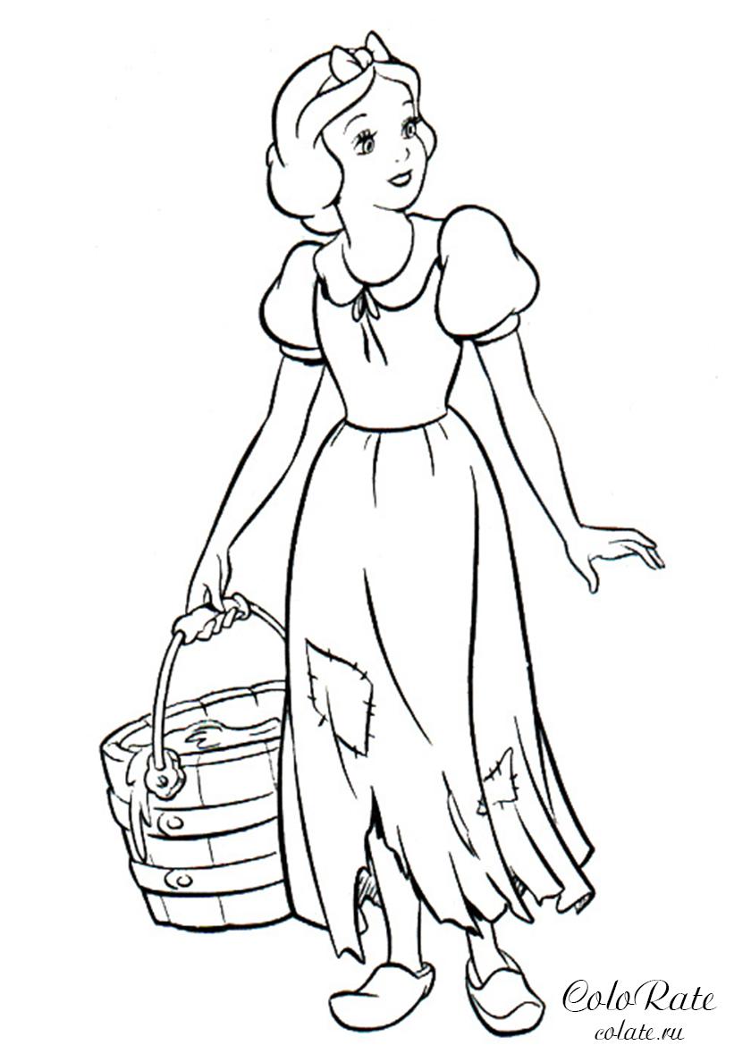 Раскраска Принцесса сходила за водой распечатать | Белоснежка