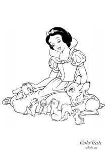 Принцесса со зверюшками - разукрашка с Белоснежкой