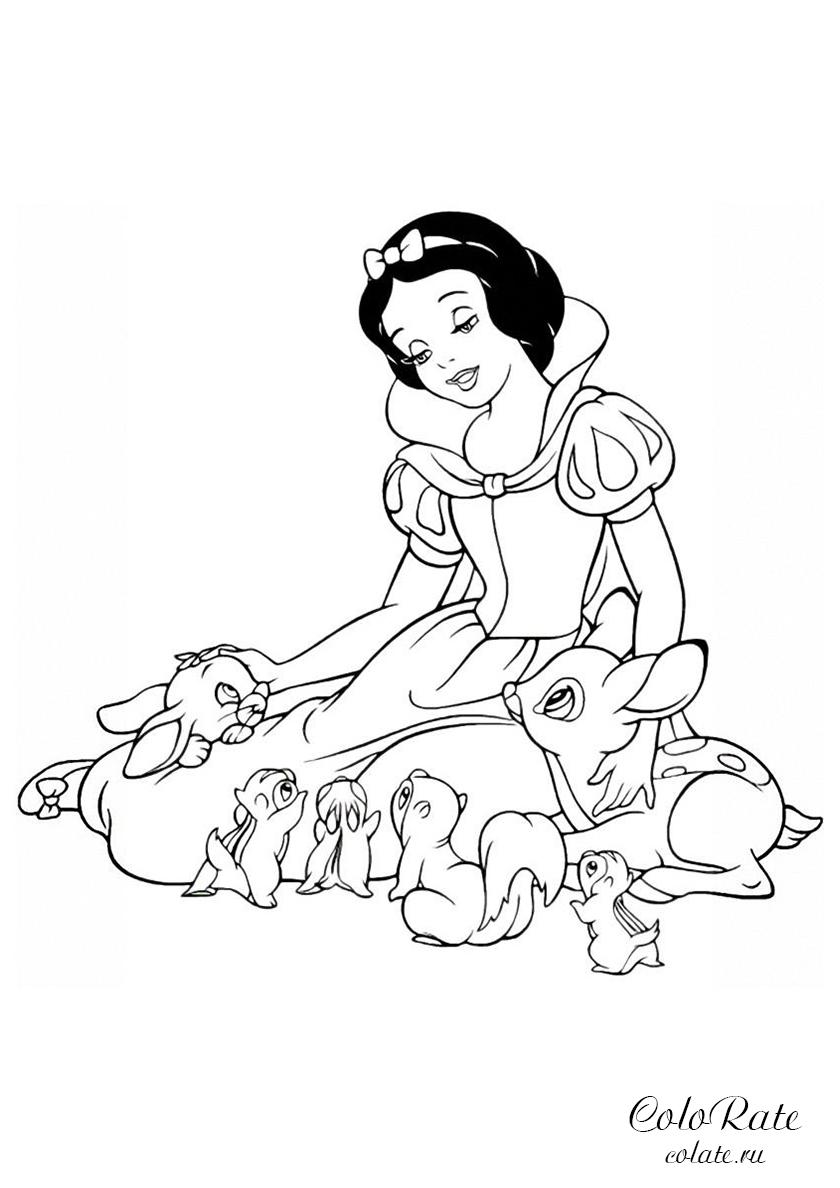 Раскраска Принцесса со зверюшками распечатать | Белоснежка