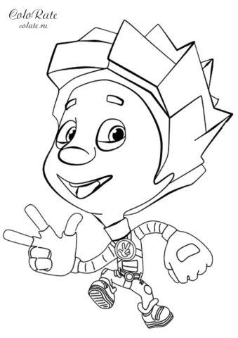 Раскраска Нолика из мультфильма Фиксики распечатать и скачать