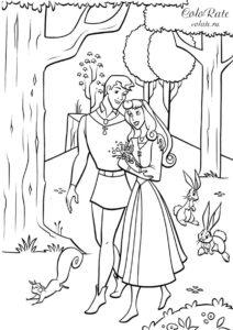 Прогулка по лесу скачать и распечатать раскраску с Авророй