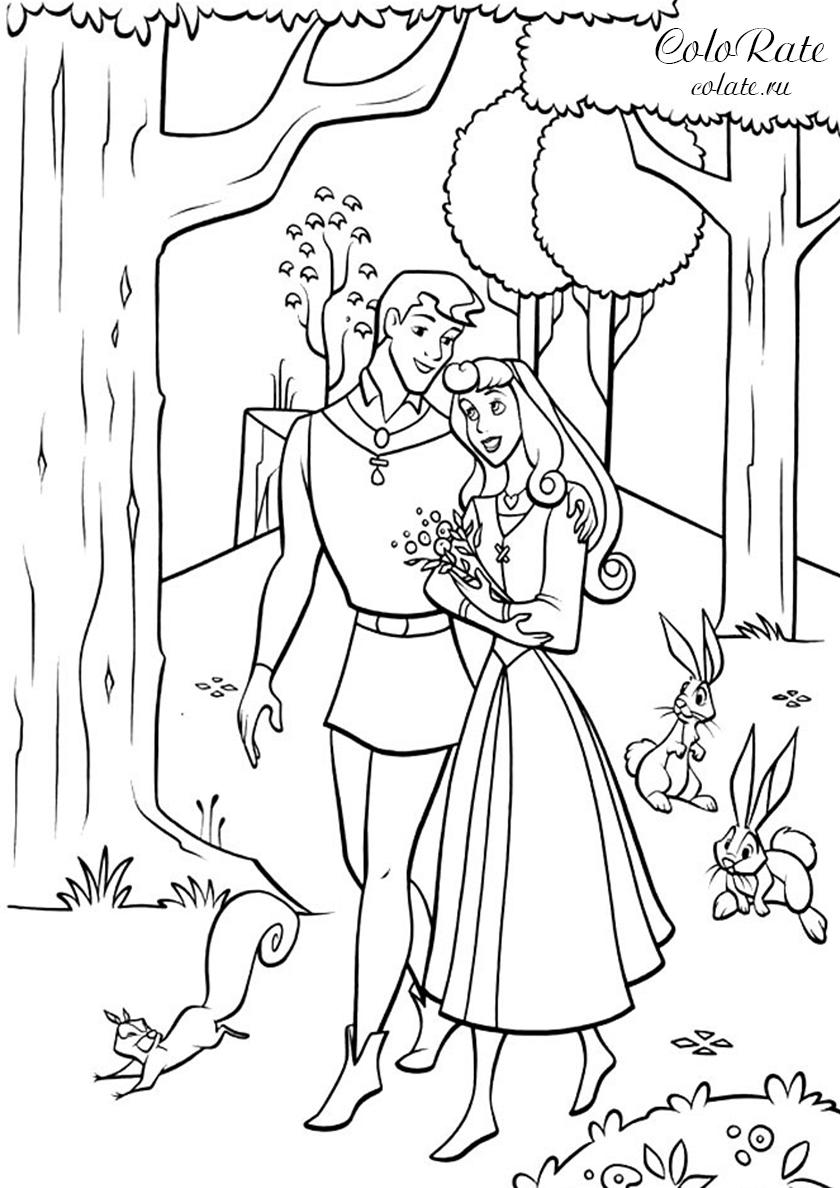 Раскраска Прогулка по лесу с принцем распечатать | Аврора