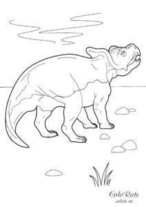 Протоцератопс - скачать и распечатать раскраску