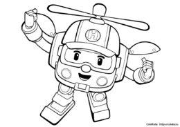 Раскраска Хэлли из мультфильма Робокар Поли для мальчиков