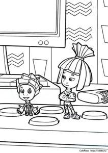 Пульт дистанционного управления - Фиксики - Раскраска для детей