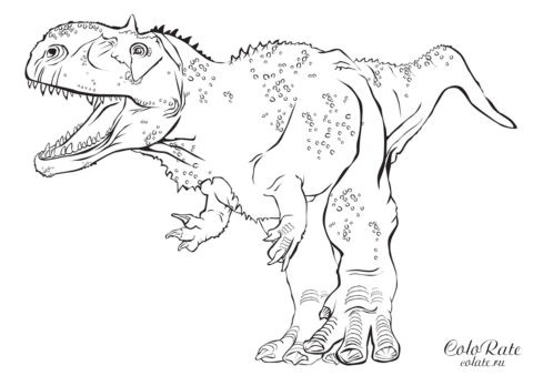 Могучий раджазавр - раскраска скачать или распечатать